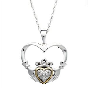 14k Gold & Silver Claddagh Necklace